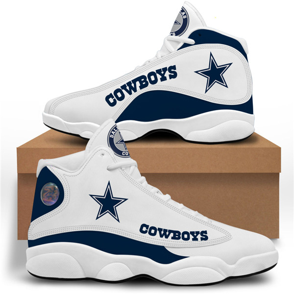 Women's Dallas Cowboys AJ13 Series High Top Leather Sneakers 004