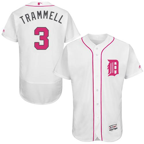 Tigers #3 Alan Trammell White Flexbase Authentic Collection 2016 Mother's Day Stitched MLB Jersey