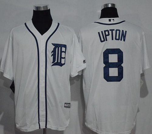 Tigers #8 Justin Upton White New Cool Base Stitched MLB Jersey