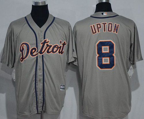 Tigers #8 Justin Upton Grey New Cool Base Stitched MLB Jersey