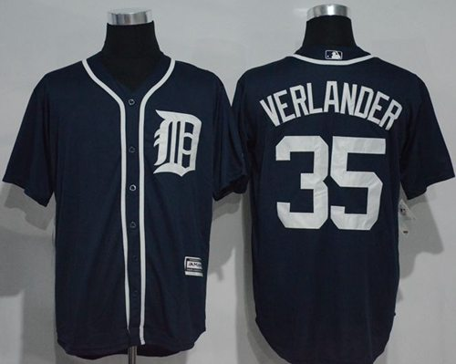 Tigers #35 Justin Verlander Navy Blue New Cool Base Stitched MLB Jersey