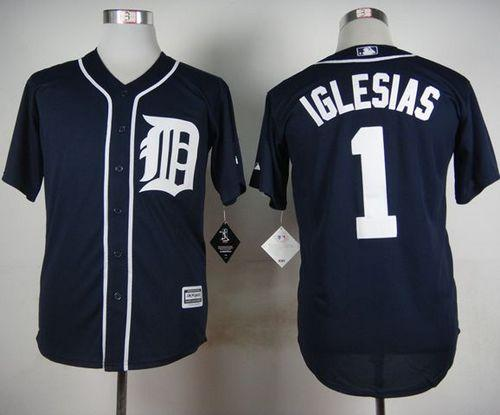 Tigers #1 Jose Iglesias Navy Blue Cool Base Stitched MLB Jersey