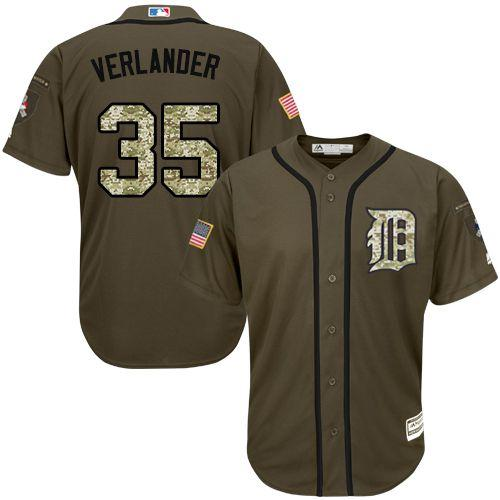 Tigers #35 Justin Verlander Green Salute to Service Stitched MLB Jersey