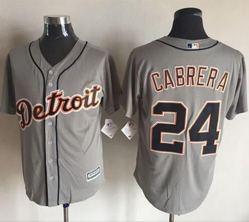 Tigers #24 Miguel Cabrera Grey New Cool Base Stitched MLB Jersey