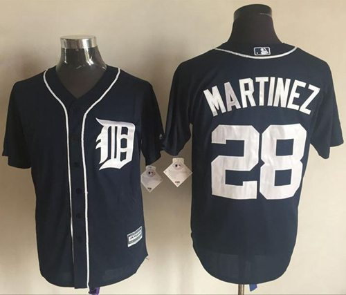 Tigers #28 J. D. Martinez Navy Blue New Cool Base Stitched MLB Jersey