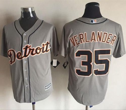 Tigers #35 Justin Verlander Grey New Cool Base Stitched MLB Jersey
