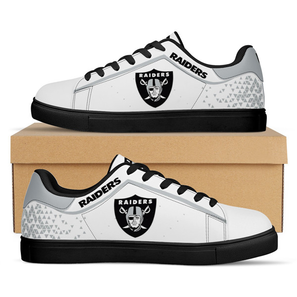 Women's Las Vegas Raiders Low Top Leather Sneakers 001