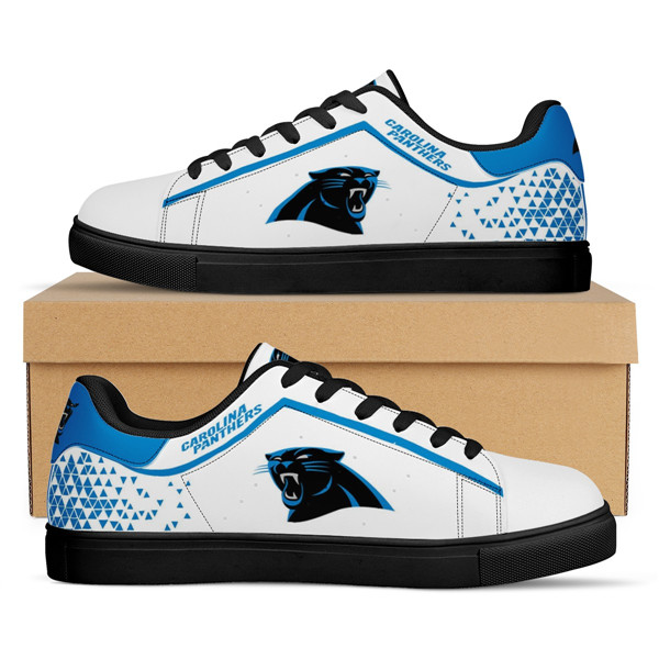 Women's Carolina Panthers Low Top Leather Sneakers 001