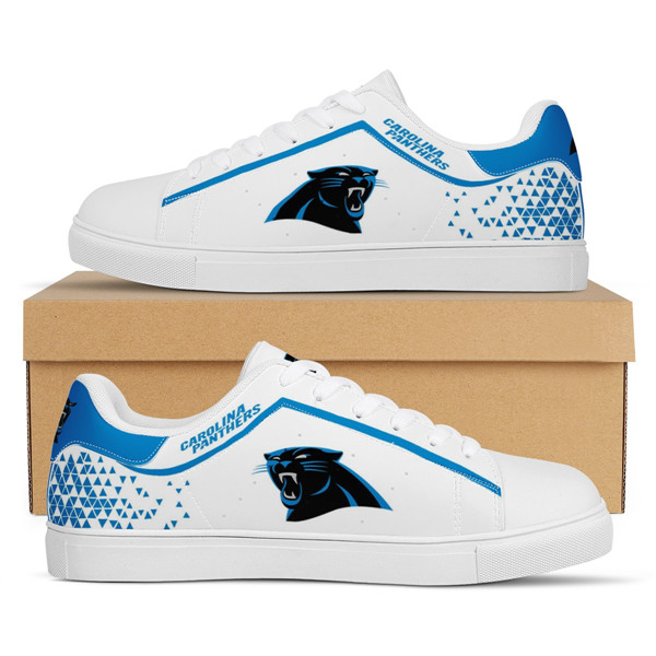 Women's Carolina Panthers Low Top Leather Sneakers 002