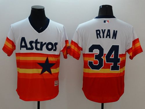 Astros #34 Nolan Ryan White/Orange Flexbase Authentic Collection Cooperstown Stitched MLB Jersey