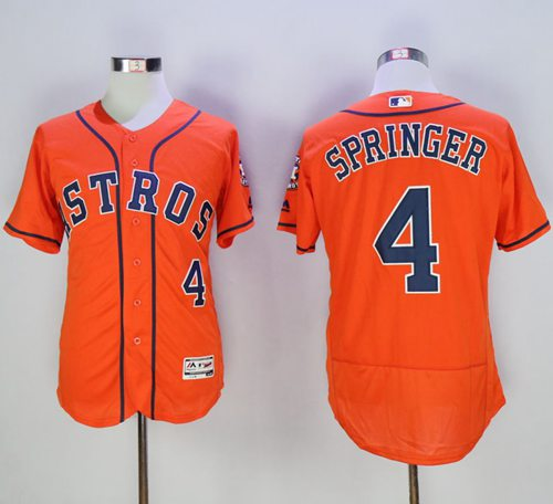 Astros #4 George Springer Orange Flexbase Authentic Collection Stitched MLB Jersey