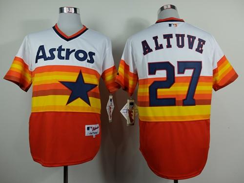 Astros #27 Jose Altuve White/Orange 1980 Turn Back The Clock Stitched MLB Jersey
