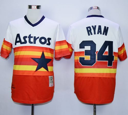 Mitchell and Ness Astros #34 Nolan Ryan White/Orange Stitched Throwback MLB Jersey