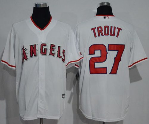 Angels of Anaheim #27 Mike Trout White New Cool Base Stitched MLB Jersey