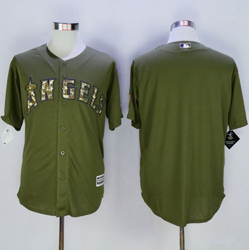 Angels of Anaheim Blank Green Camo New Cool Base Stitched MLB Jersey