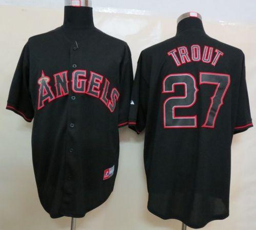 Angels of Anaheim #27 Mike Trout Black Fashion Stitched MLB Jersey