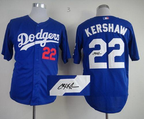 Dodgers #22 Clayton Kershaw Blue Cool Base Autographed Stitched MLB Jersey