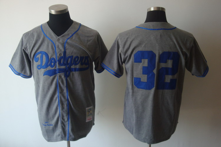 Mitchell and Ness Dodgers #32 Sandy Koufax Grey Stitched Throwback MLB Jersey