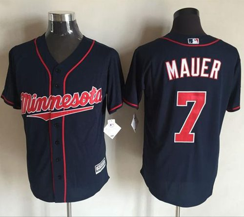 Twins #7 Joe Mauer Navy Blue New Cool Base Stitched MLB Jersey