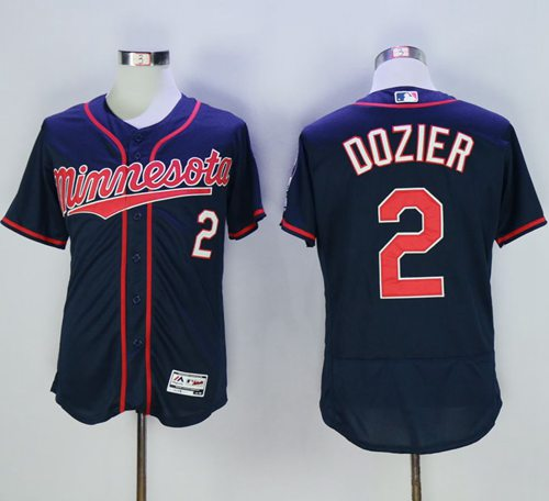 Twins #2 Brian Dozier Navy Blue Flexbase Authentic Collection Stitched MLB Jersey