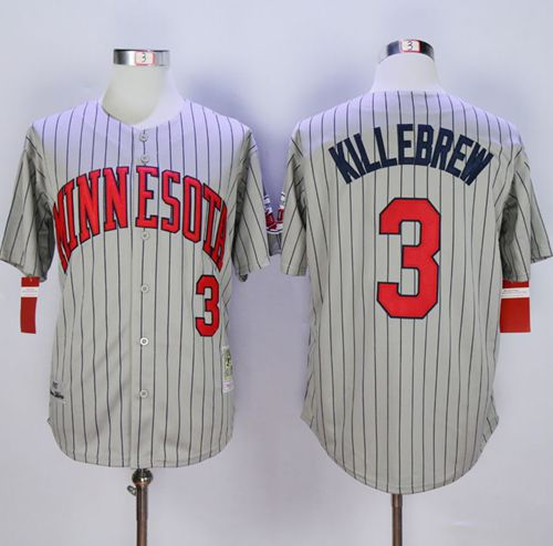 Mitchell And Ness 1987 Twins #3 Harmon Killebrew Grey Throwback Stitched MLB Jersey