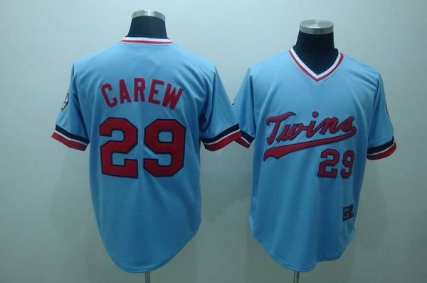 Mitchelland Ness Twins #29 Rod Carew Stitched Light Blue Throwback MLB Jersey