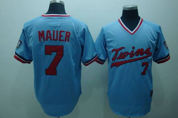Twins #7 Joe Mauer Light Blue Cooperstown Throwback Stitched MLB Jersey