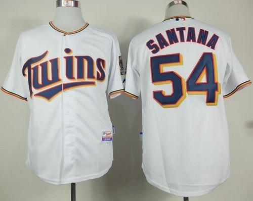 Twins #54 Ervin Santana White Home Cool Base Stitched MLB Jersey