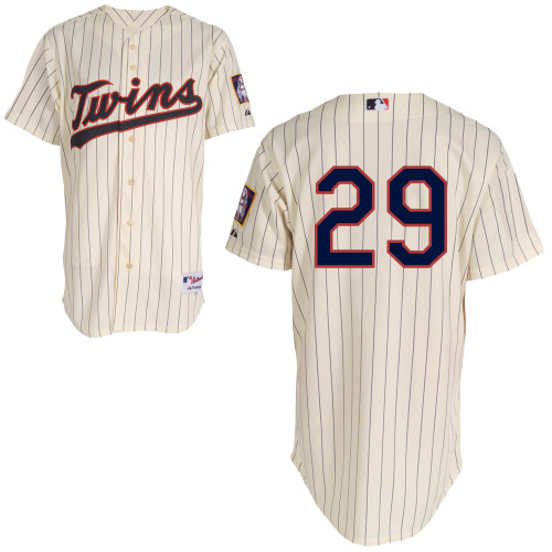 Mitchell and Ness Twins #29 Rod Carew Cream Black Strip Stitched MLB Jersey
