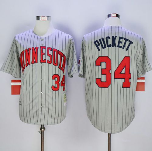 Mitchell And Ness 1987 Twins #34 Kirby Puckett Grey Throwback Stitched MLB Jersey