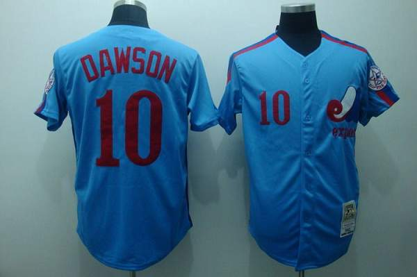 Mitchell and Ness Expos #10 Andre Dawson Stitched Blue Throwback MLB Jersey