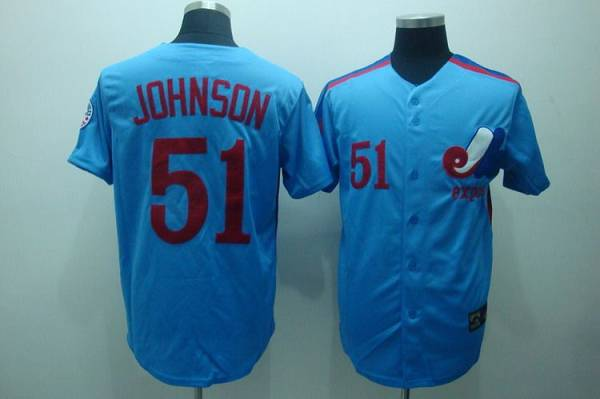 Mitchell and Ness Expos #51 Randy Johnson Blue Stitched Throwback MLB Jersey