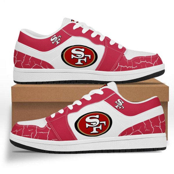 Women's San Francisco 49ers AJ Low Top Leather Sneakers 001