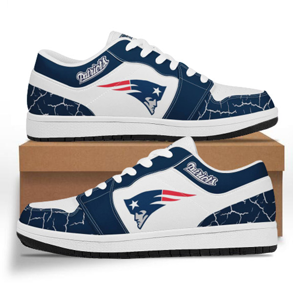 Women's New England Patriots AJ Low Top Leather Sneakers 001