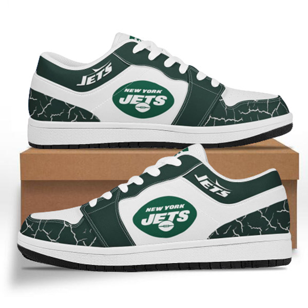 Women's New York Jets AJ Low Top Leather Sneakers 001