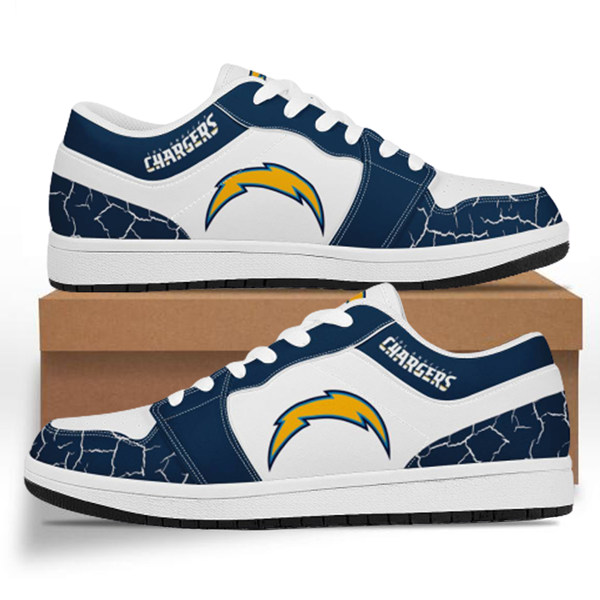Women's Los Angeles Chargers AJ Low Top Leather Sneakers 001