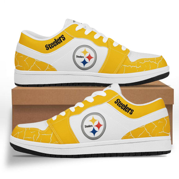 Men's Pittsburgh Steelers AJ Low Top Leather Sneakers 001