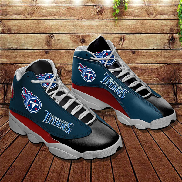 Women's Tennessee Titans AJ13 Series High Top Leather Sneakers 003