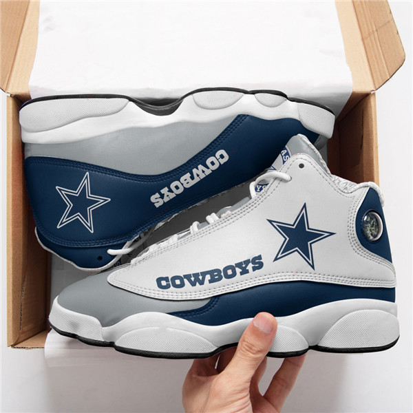 Women's Dallas Cowboys AJ13 Series High Top Leather Sneakers 002