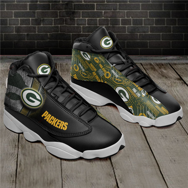 Women's Green Bay Packers AJ13 Series High Top Leather Sneakers 003