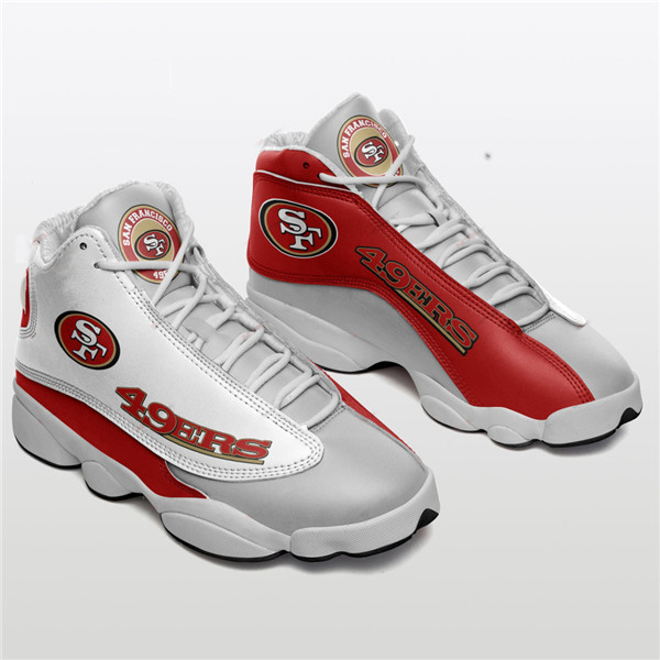Women's San Francisco 49ers AJ13 Series High Top Leather Sneakers 002