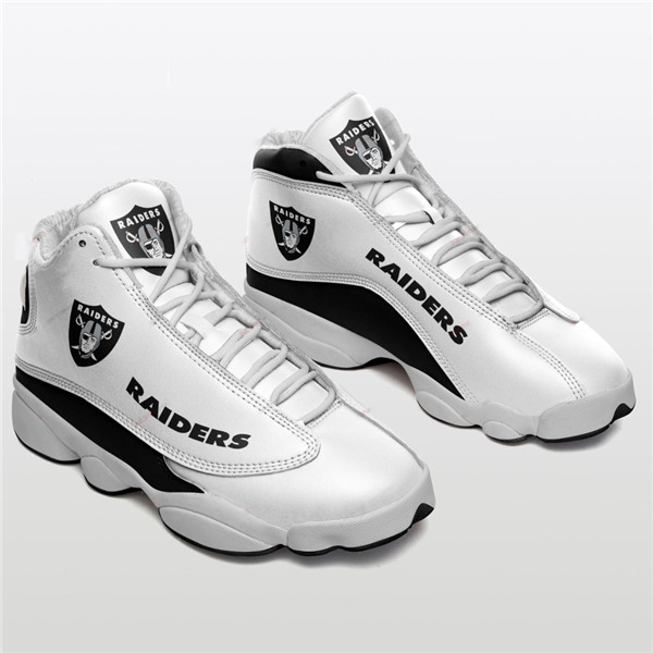 Women's Las Vegas Raiders AJ13 Series High Top Leather Sneakers 005