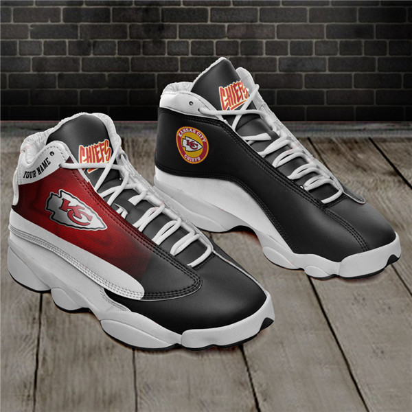 Women's Kansas City Chiefs AJ13 Series High Top Leather Sneakers 002