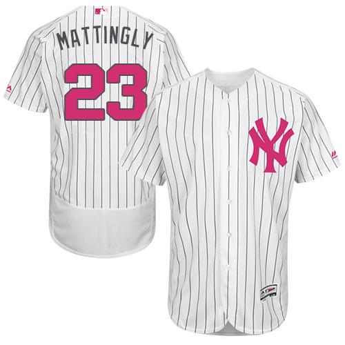 Yankees #23 Don Mattingly White Strip Flexbase Authentic Collection 2016 Mother's Day Stitched MLB Jersey