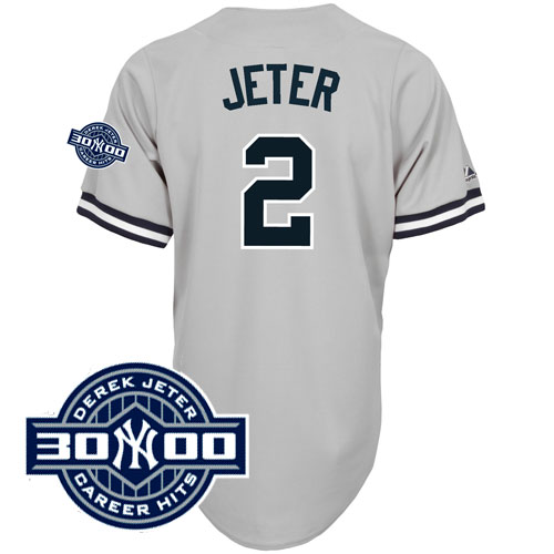 Yankees #2 Derek Jeter Grey W/3000 Hits Patch Stitched MLB Jersey