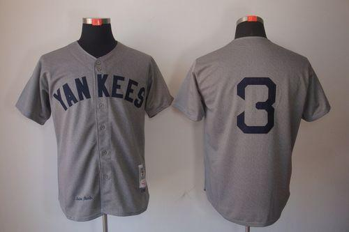 Mitchell And Ness 1929 Yankees #3 Babe Ruth Grey Throwback Stitched MLB Jersey