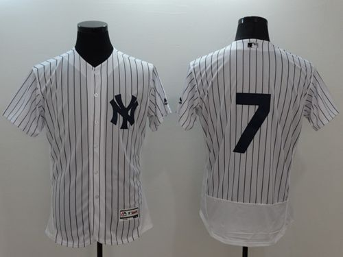 Yankees #7 Mickey Mantle White Strip Flexbase Authentic Collection Stitched MLB Jersey