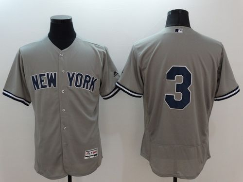 Yankees #3 Babe Ruth Grey Flexbase Authentic Collection Stitched MLB Jersey