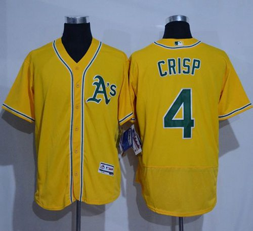 Athletics #4 Coco Crisp Gold Flexbase Authentic Collection Stitched MLB Jersey