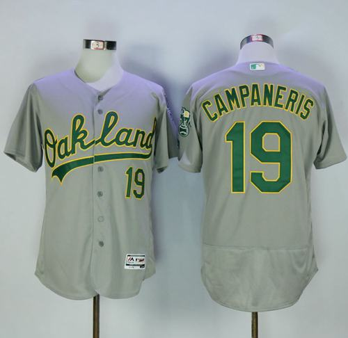 Athletics #19 Bert Campaneris Grey Flexbase Authentic Collection Stitched MLB Jersey